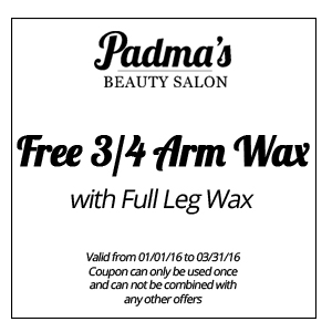 Free 3/4 Arm Wax with Full Leg Wax