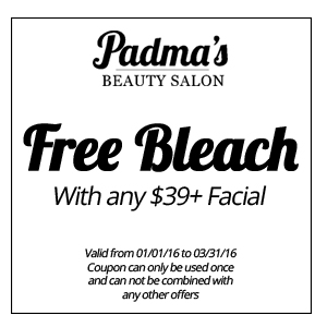 Free Bleach with $39+ Facial